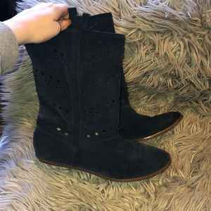Anthro suede cut out slouchy boots 7.5